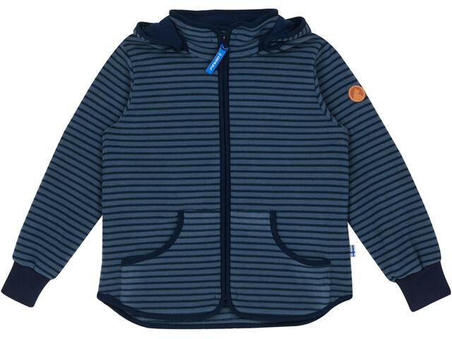 Finkid Kids Tonttu Striped Fleece Jacket blue mirage/navy
